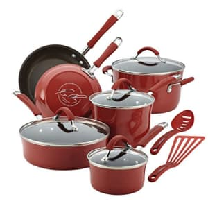 Rachael Ray Cucina Nonstick Cookware Pots and Pans Set, 12 Piece, Cranberry Red for $160