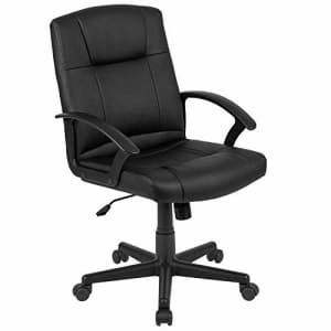 Flash Furniture Flash Fundamentals Mid-Back Black LeatherSoft-Padded Task Office Chair with Arms for $95