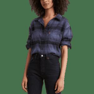 Levi's Women's Maple Cotton Plaid Utility Shirt for $17