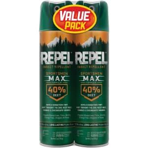 Insect Repellent Sportsmen Max Formula Aerosol Spray 2-Pack for $7