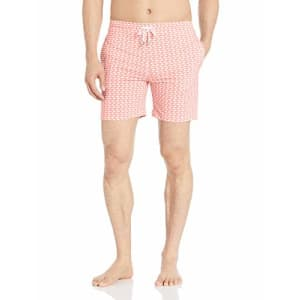 Marc Joseph New York Men's 5th Ave Quick Dry Swim Trunks with Mesh Lining, Pink/White, X-Large for $60