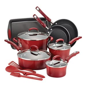 Rachael Ray Brights Nonstick Cookware Set / Pots and Pans Set - 14 Piece, Red Gradient for $196