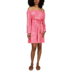 Michael Michael Kors Women's Zebra-Print Off-the-Shoulder Dress for $35