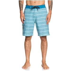 Quiksilver Waterman Men's Angler Stripe Beachshort 20 Swim Trunk, Still Water, 31 for $52