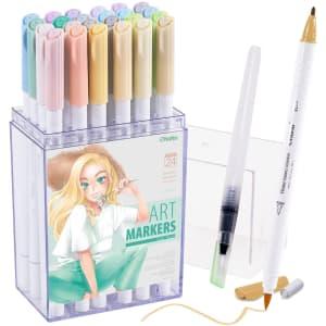 Ohuhu Dual Brush Pen Art Markers 24-Pack for $15