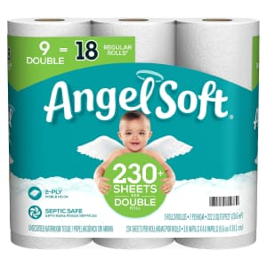 Angel Soft 2-Ply Toilet Paper 9-Pack for $3