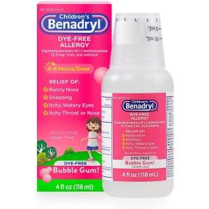 Children's Benadryl Dye-Free Allergy Liquid 4-Oz. Bottle for $4