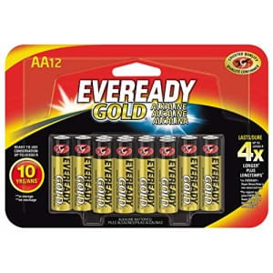 Energizer Eveready Gold AA Batteries, 12 Count for $16
