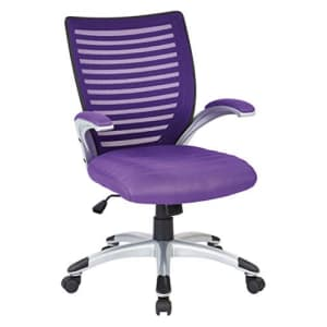 Office Star Breathable Mesh Back and Padded Mesh Seat Managers Chair with Fixed Arms and Silver for $148