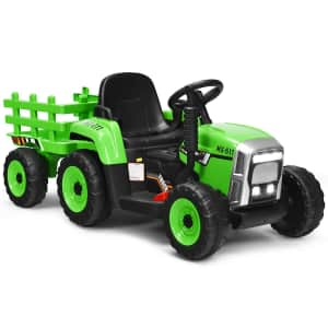 Costway 12V Ride-On Tractor with Trailer for $150