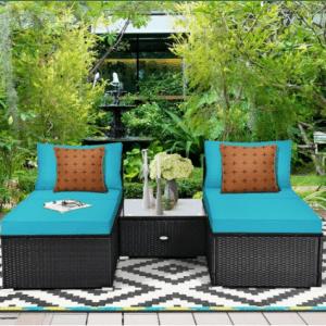 Costway 5-Piece Patio Rattan Wicker Furniture Set for $330