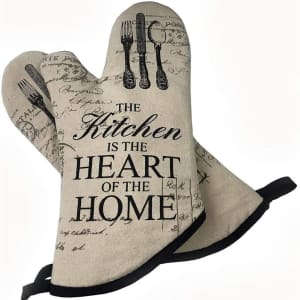 Ousa The Kitchen Is the Heart of the Home Heat-Resistant Oven Mitts for $9