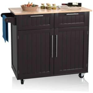 Costway Heavy Duty Rolling Kitchen Cart w/ Hardwood Top for $177