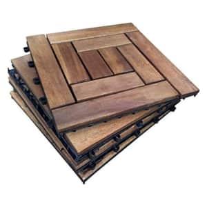 "DreamPatio 12"" Wood Interlocking Deck Tile 6-Pack for $24"