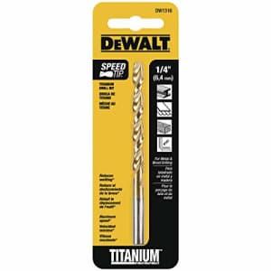 DEWALT DW1316 1/4-Inch Titanium Split Point Twist Drill Bit,Gold for $4