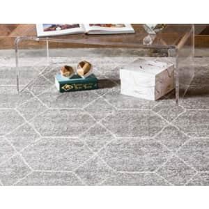 Unique Loom Trellis Frieze Collection Lattice Moroccan Geometric Modern Light Gray Area Rug (4' 0 x for $40