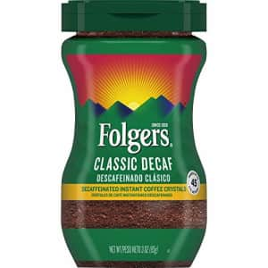 Folgers Classic Decaf Roast Crystal Instant Coffee, 3 Ounce for $8
