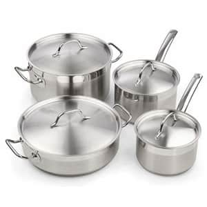 Cooks Standard Professional Stainless Steel Cookware set 8PC, 8 PC, Silver for $100