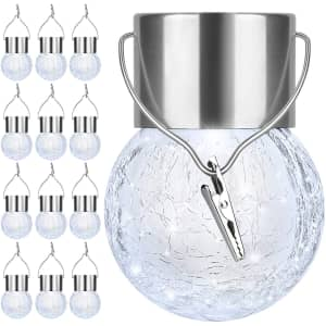 Outdoor Hanging Solar Light 12-Pack for $24