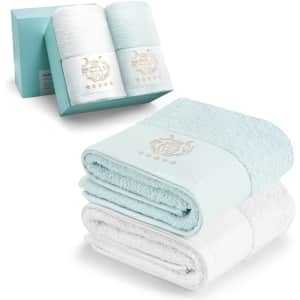 Lqaner Cotton Bath Towel 2-Pack for $11