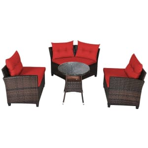 Costway 4-Piece Cushioned Rattan Furniture Set for $475