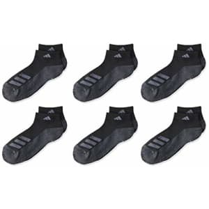adidas Kids-Boy's/Girl's Cushioned Low Cut Socks (6-Pair),Black/Black - Onix Marl/Night for $36