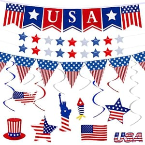 Ouddy 37Pcs 4th of July Banner Decorations Patriotic Party Supplies for the Home, Red White Blue American for $7