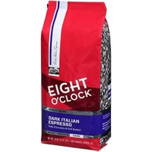 Eight O'Clock Coffee Dark Italian Espresso, Dark Roast, Whole Bean Coffee, 32 Ounce (Pack of 1), for $13