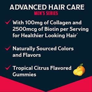 Nature's Bounty Advanced, Men's Series, for Healthier Looking Hair, Biotin + Collagen, Hair Care, for $14