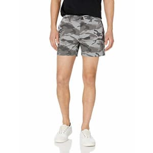 """Goodthreads Men's Slim-Fit 5"""" Inseam Flat-Front Comfort Stretch Chino Shorts, Grey Camo 40 for $25"""