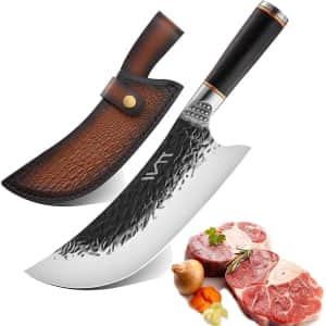 Shinace Stainless Steel Cleaver Knife w/ Leather Sleeve for $24