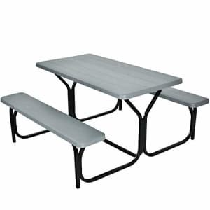 Giantex Picnic Table Bench Set Outdoor Camping All Weather Metal Base Wood-Like Texture Backyard for $290