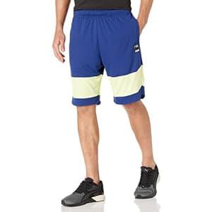 PUMA Men's Ultimate Shorts, Elektro Blue/Soft Fluo Yellow, S for $21