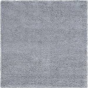 Unique Loom Solo Solid Shag Collection Area Modern Plush Rug Lush & Soft, 5' 0 x 5' 0 Square, Cloud for $50