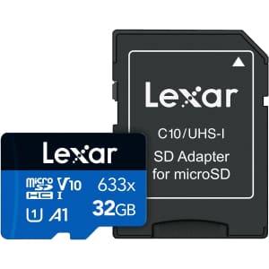 Lexar 633x 32GB UHS-1 microSD Card w/ Adapter for $6