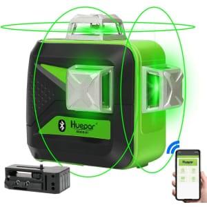 Huepar 3 x 360-Degree Green Beam 3D Laser Level with Bluetooth for $186