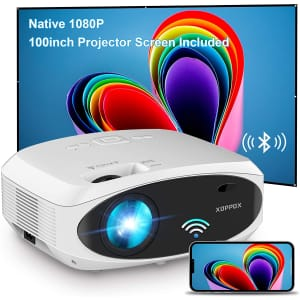 Xoppox 1080p WiFi Projector with Screen for $300