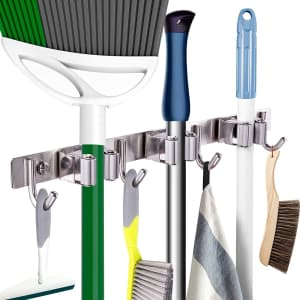 """Piyl 17"""" Wall Mounted Mop and Broom Organizer for $19"""