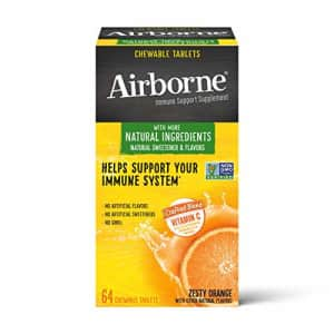Vitamin C 1000mg (per serving) - Airborne Zesty Orange Chewable Tablets (64 count in a box), for $13