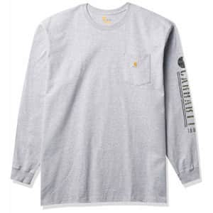 Carhartt Men's Relaxed Fit Heavyweight Long-Sleeve Pocket Logo Graphic T-Shirt, Heather Gray, 8.5 for $23