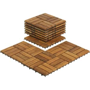 "EZ-Floor 12"" x 12"" Teak Wood Snap-In Deck Tiles 10-Pack for $66"