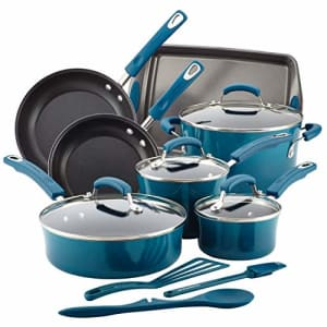 Rachael Ray 17638 Brights Nonstick Cookware Set / Pots and Pans Set - 14 Piece, Marine Blue for $150