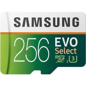 Samsung EVO Select 256GB UHS-I U3 microSDXC Memory Card for $34