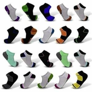Men's Elite Moisture Wicking Ankle Socks 20-Pack for $19