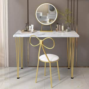 Comigeewa LED Makeup Vanity Dressing Table Set with Stool for $120