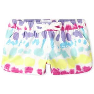 The Children's Place Girls' Printed Drawstring Shorts, Simplywht, 6 for $3
