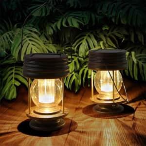 """Pearlstar 5.5"""" LED Hanging Solar Lantern 2-Pack for $19"""