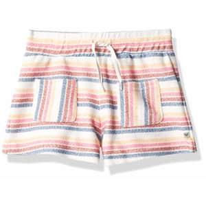 Roxy Girls' Liberty Island Fleece Shorts, Snow White CONFI Stripe, 7/XS for $12