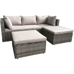 AmazonBasics 3-Piece Wicker Rattan Patio Sectional Sofa Set w/ Cushions for $350