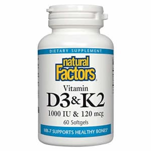 Natural Factors, Vitamin D3 & K2 1000 IU and 120 mcg, Supports Bone and Vascular Health, 60 for $21